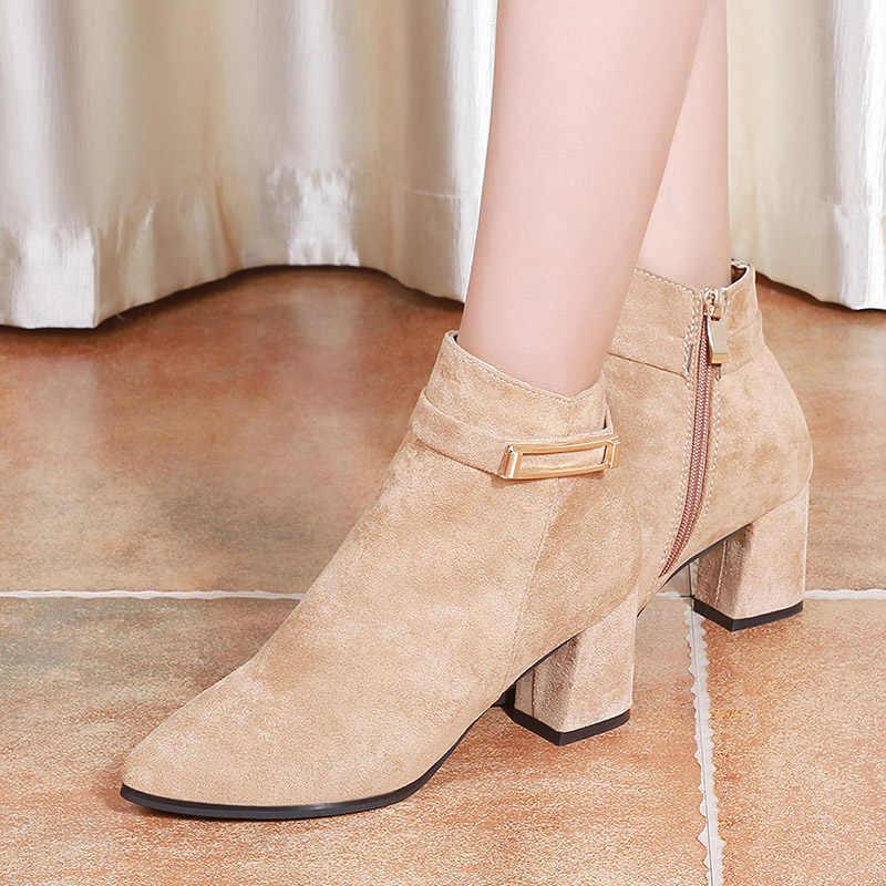Yüksek topuklu seksi bayan botları pembe fermuar kısa çizmeler çıplak topuklu ayakkabılar kadın kare topuklu femme Boots