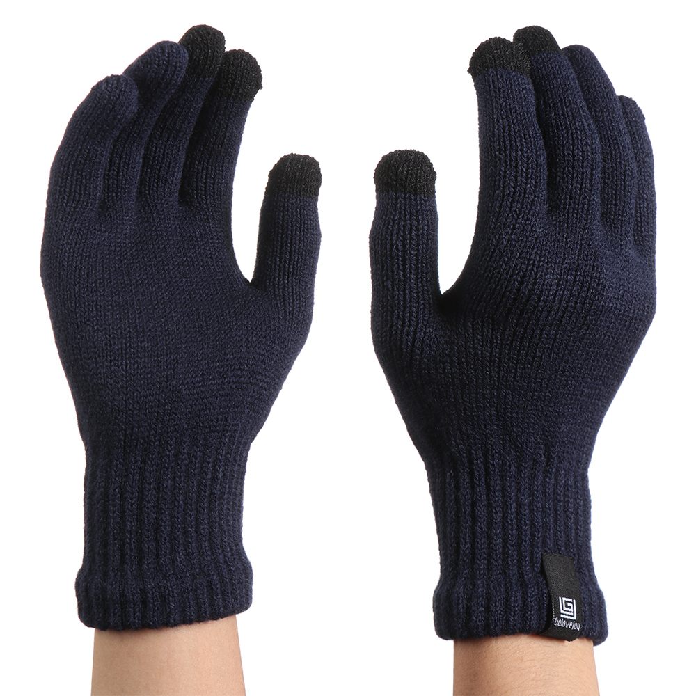 Men Winter Warm Gloves Knitted Wool Touch Screen Gloves Women Thicken Cycling Full Finger Gloves Mittens Unisex Guantes