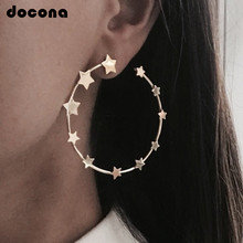 docona Punk Gold Silver Color Stars Round Ear Clip for Women Girls Metal Clip earrings Charm Party Jewelry Wholesale 4878(China)
