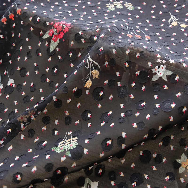 Jacquard schwarzen chiffon druck sommer kleid stoff ein wenig transparent nähen material 50*150cm 100*150cm TJ0712