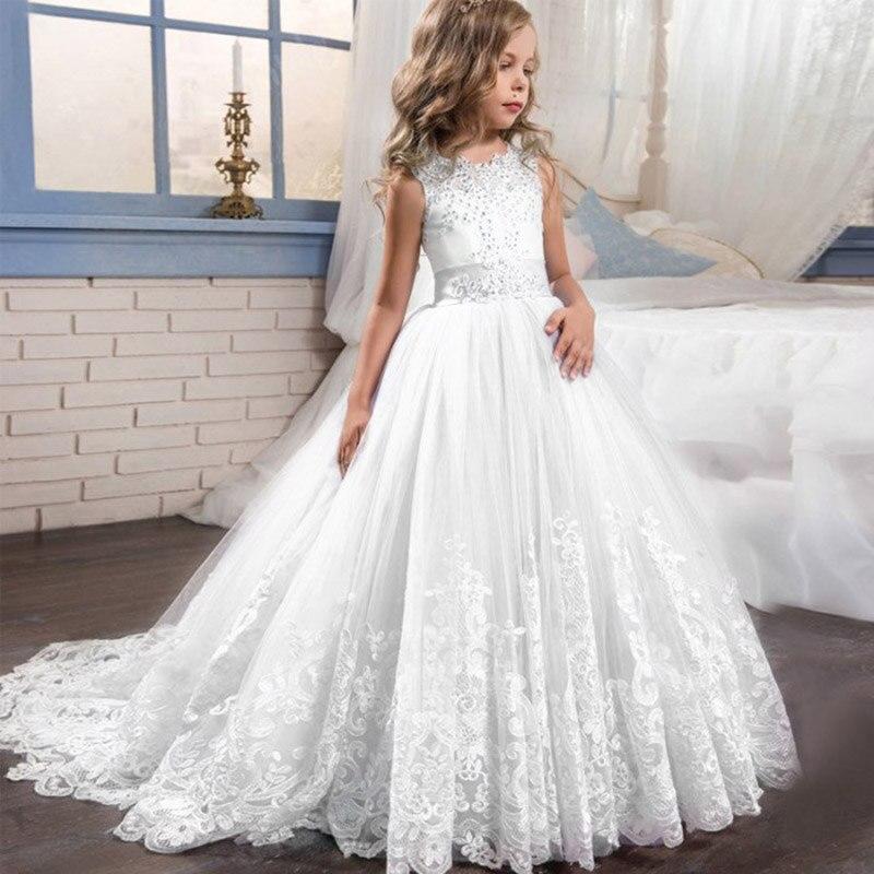LADY NOIVAS White Lace Bodice   Flower     Girl     Dress   Crystals Beaded Communion   Dresses   Pageant   Dresses   For   Girls   kids   dresses