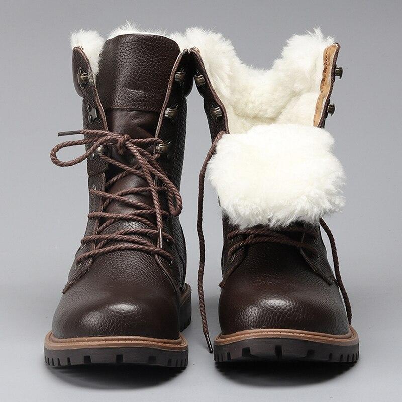 Зимние кожаные ботинки на меху