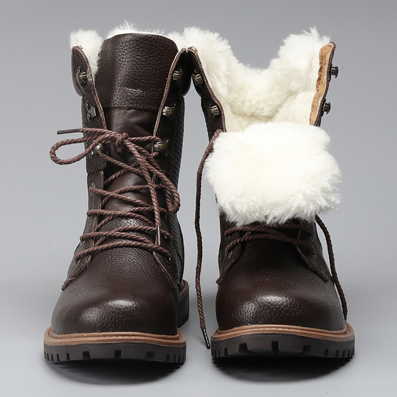 Natural Wool Men Winter Shoes Warmest Genuine Leather Handmade Men Winter Snow Boots #YM1568