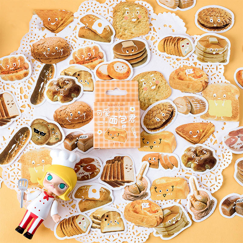 46Pcs Cute Stationery Stickers Kawaii Bread Stickers Bullet Journal Stickers For Girls DIY Scrapbooking Diary Albums Supplies
