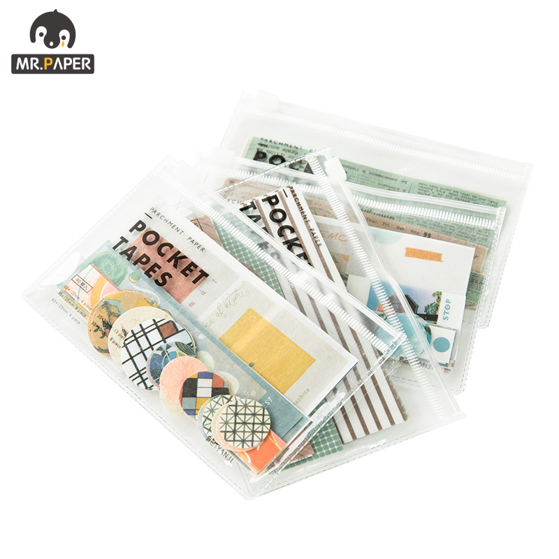 Mr.paper 4 Designs 40Pcs/lot Vintage Sights Simple Stripe Pocket Tape Deco Stickers Scrapbooking Bullet Journal Deco Stickers 5