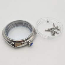 лучшая цена 45 mm stainless steel hand winding polished watches case fit for ETA 6497/6498 movement