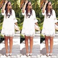 Белое богемное пляжное кружевное свободное мини-платье с рукавами-воланами, летнее женское платье размера плюс 6XL
