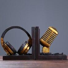 Modelo de micrófono Vintage sujetalibros auriculares ornamentales de resina accesorios de artesanía para decoración de cafetería y estudio
