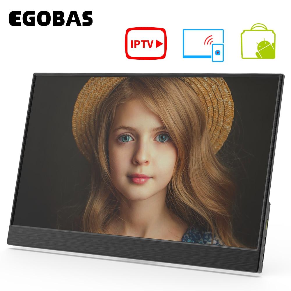 EGOBAS 15.6 WiFi przenośny Monitor bezprzewodowa projekcja Smart IPTV APP Store dekodowanie 4K pilot zdalnego sterowania Bluetooth Voice Assistant