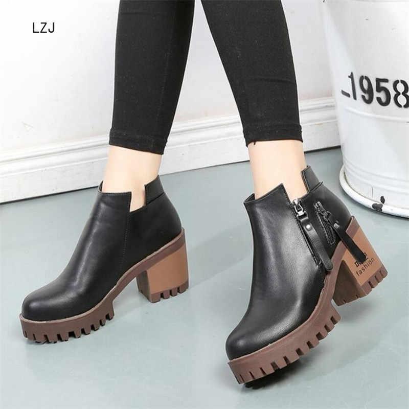 LZJ 2019 Frauen Herbst Stiefeletten Komfortable Neue Platz Ferse Plattform frauen Schuhe Super High Heels Kurze Plüsch Stiefel