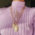 2021 в богемном стиле с многослойным покрытием кулон ожерелье для женщин в винтажном стиле Коко крест лотоса Девы Марии воротник короткое оже...