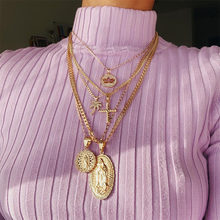 2021 boêmio multi-camada pingente colar para as mulheres do vintage coco cruz lotus virgem mary colar gargantilha grânulo corrente jóias presente