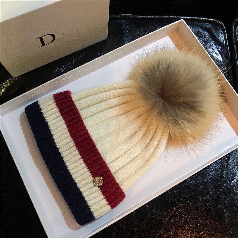 2020 inverno pele pompom chapéu para mulheres malha gorro inverno alta qualidade real pele de guaxinim pom lã chapéus