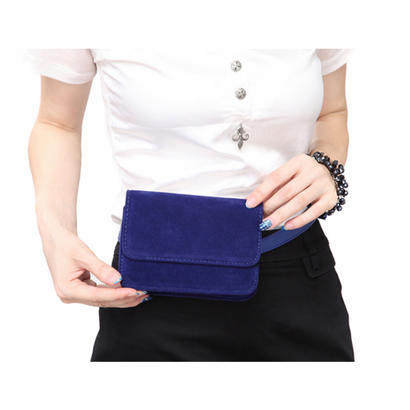Solid Women Waist Bag Suede Bum Phone Purse Flap Fanny Pack Wallet For Travel Ladies Box Style Luxury Design Belt Bags Female