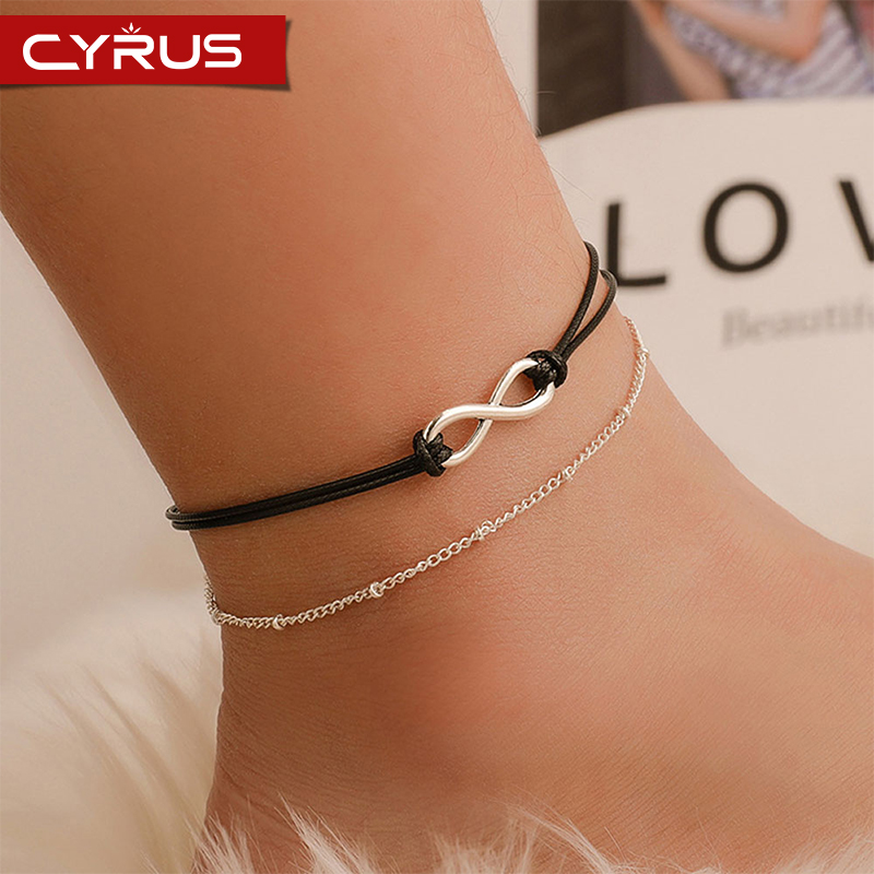 Boho Anklets Jewelry Double Layer Alloy For Women Numeral Black Braided Rope Summer Beach Barefoot Bracelet Ankle Handmade 2020