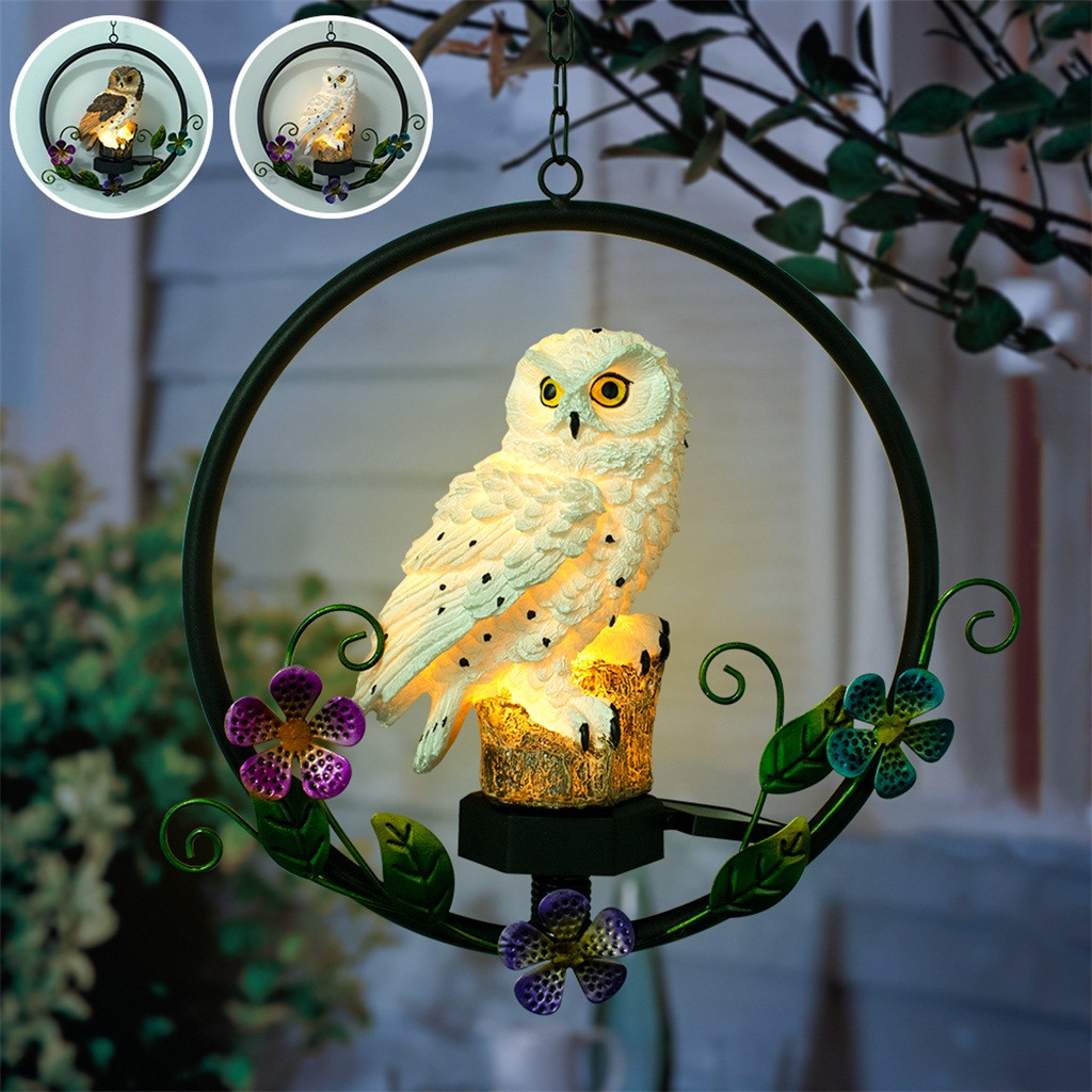 Solar Resin Owl Wrought Iron Wind Chime