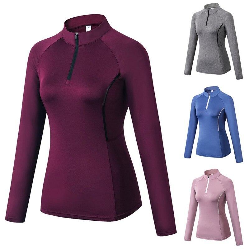 T-Shirt Women Autumn Zipper Long Sleeve Sports Fitness Training Quick-Drying Clothes Stand Collar Slim T-Shirt Tops Haut Femme*
