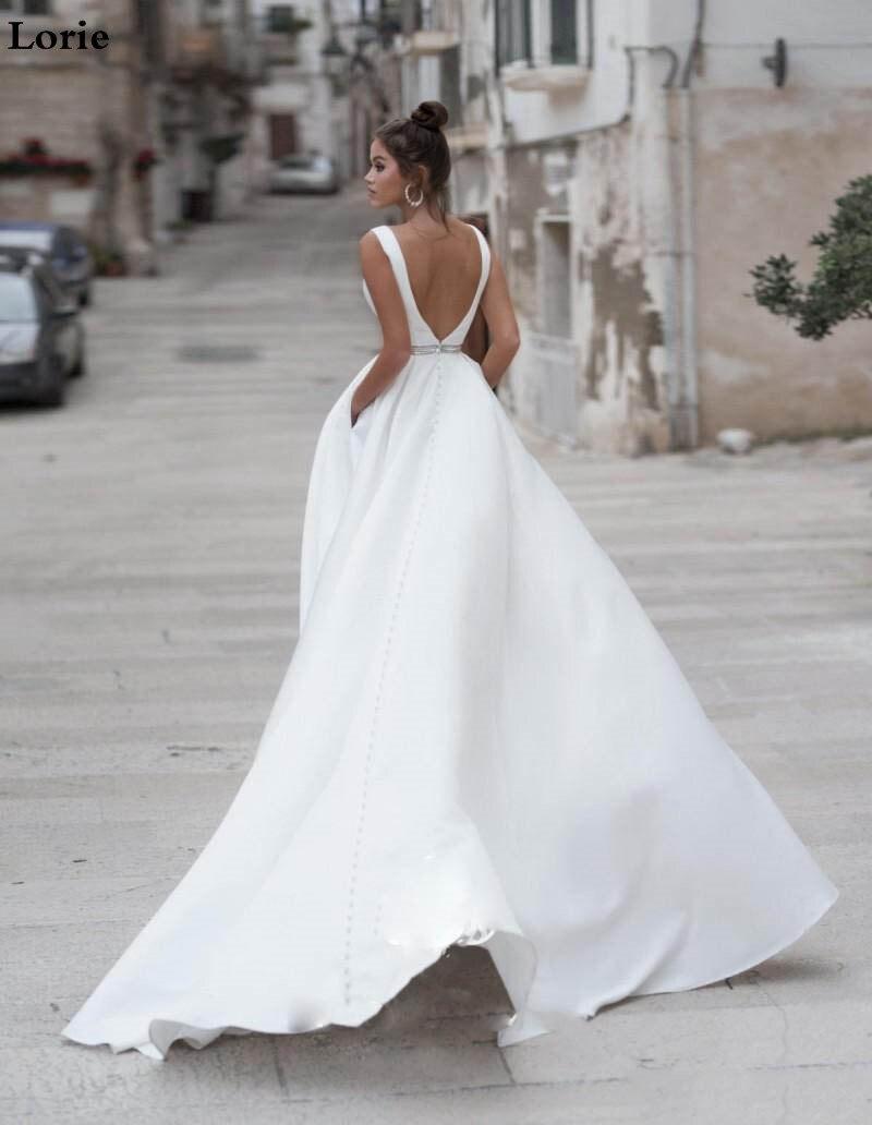 Image 5 - Lorie Satin Wedding Dresses V Neck  Bride Dresses Buttons Vestido de novia  Boho Elegant Wedding Gown For Women Custom Made-in Wedding Dresses from Weddings & Events