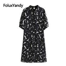 Женское шифоновое платье миди с принтом размера плюс повседневное