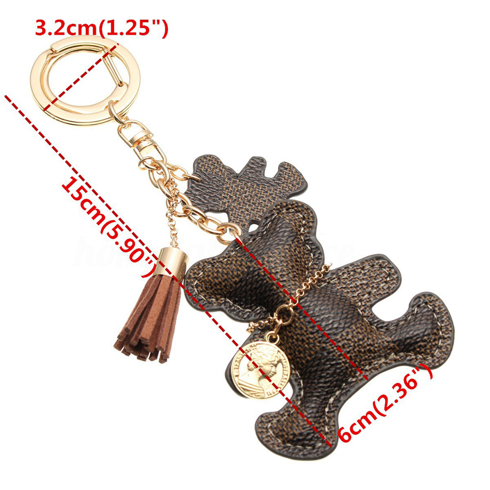 Bear Leather Tassel Keychain Bag Charm Teddy Bear Leather Tassel Key Ring Car Bag Charm Keychain