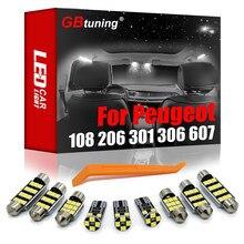 GBtuning wolne od błędów zestaw oświetlenia wnętrza LED dla Peugeot 1007 106 107 108 205 206 301 306 406 508 607 samochodu wewnątrz bagażnika części do żarówek