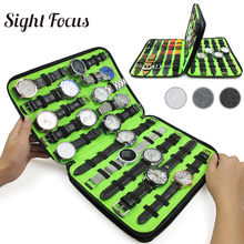 Sight Focus, caja organizadora de reloj de fieltro con 40 ranuras, caja de almacenamiento de reloj gris, bolsa organizadora con correa de reloj y doble capa
