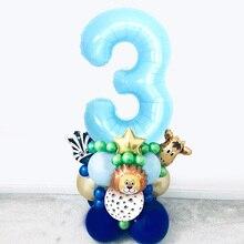 35PCS Blue Number Balloon Happy Birthday 1st Party Decoration Tiger Zebra animal Zoo Theme Supplies Toys