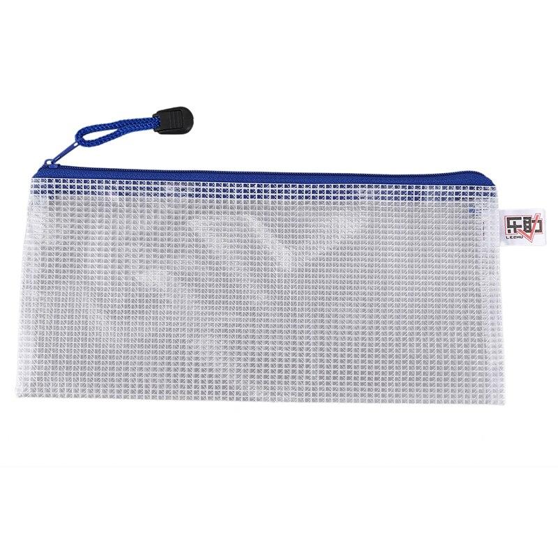Blue White Net Inside Zipper Pouch Holder 210mmx110mm For A6 Paper