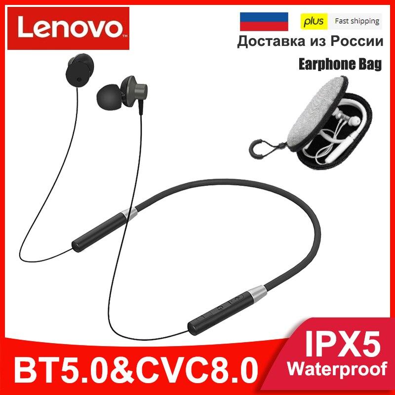 Беспроводные наушники Lenovo HE05, Bluetooth 5,0, магнитные наушники с шейным ободом, IPX5 водонепроницаемые спортивные наушники для бега, шумоподавлени...