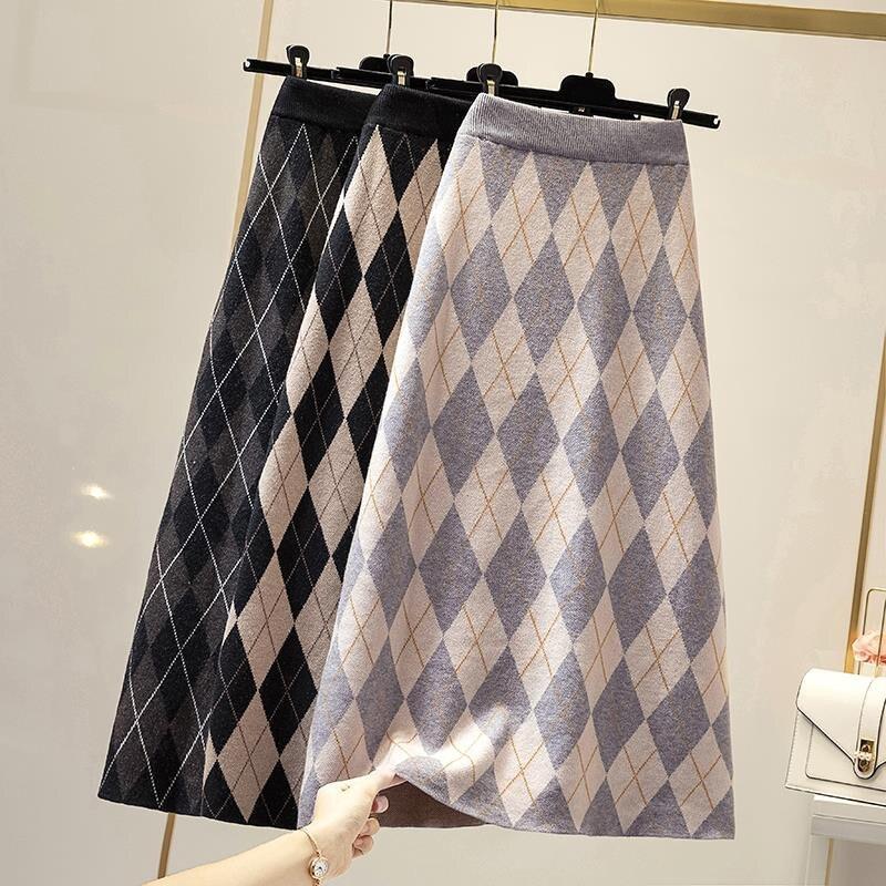 Autumn Winter Knitting Plaid Midi Skirts Women High Waist A-line Skirt Ladies Plus Size Vintage Long Skirt Jupe Femme Streetwear