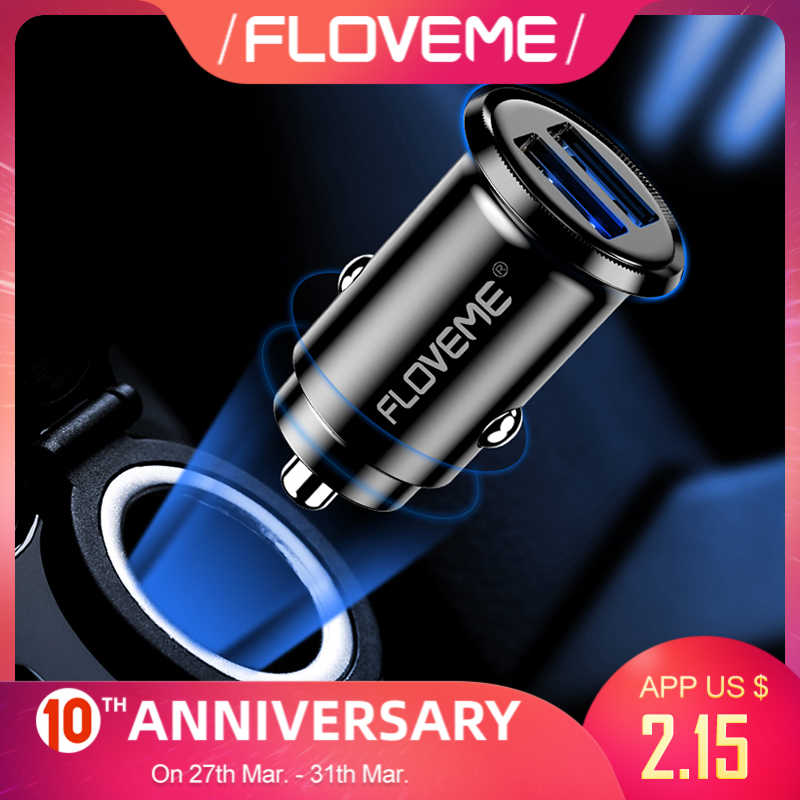 Floveme 3.1A Usb Auto Telefoon Oplader Mobiele Telefoon Auto Fast Charger Universa Mini Dual Usb Opladen Auto-Oplader Voor iphone Xiaomi
