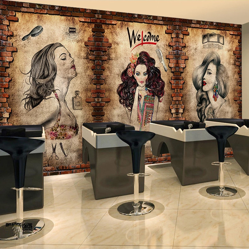 Custom Photo Wall Painting Barber Shop Mural Wallpaper Makeup Beauty Shop Hairstyle Center Background Decor Brick Wall Paper 3D