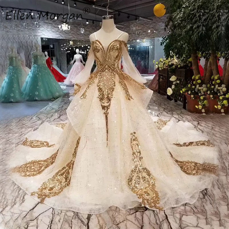 Arabic Glitter Strapless Wedding Dresses Long Sleeve Ball Gowns Girls Elegant 2019 New Gold Lace Sequins Ruffles Bridal Gowns