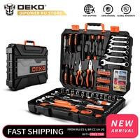 DEKO  208 Uds.  conjunto de herramientas de reparación de automóviles  llave de carraca automática  destornillador  Kit de herramientas para mecánicos con caja de moldeado por soplado