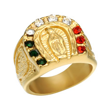 Women Men Ring Colorful Zirconia Virgin Mary Titanium Stainless Steel Jewelry Male Rings Signet Hip Hop Religion MA036