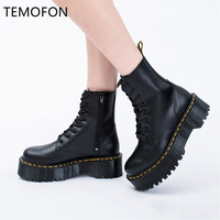 Genuine Leather Boots Woman Martin Boots Platform Women Autumn Winter Black Motorcycle Boots Waterproof Thick Heel Shoes HVT444