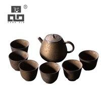 TANGPIN اليابان السيراميك أقداح الشاي مع 6 أكواب الصينية الكونغ فو طقم شاي drinkware