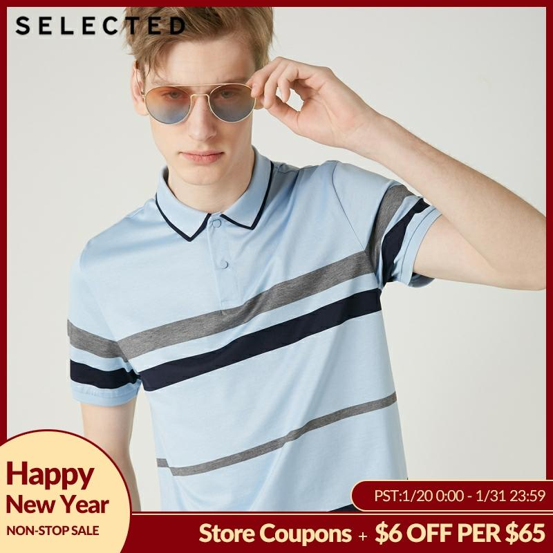 SELECTED Men's Summer 100% Cotton Striped Turn-down Collar Short-sleeved Polo S|419206531