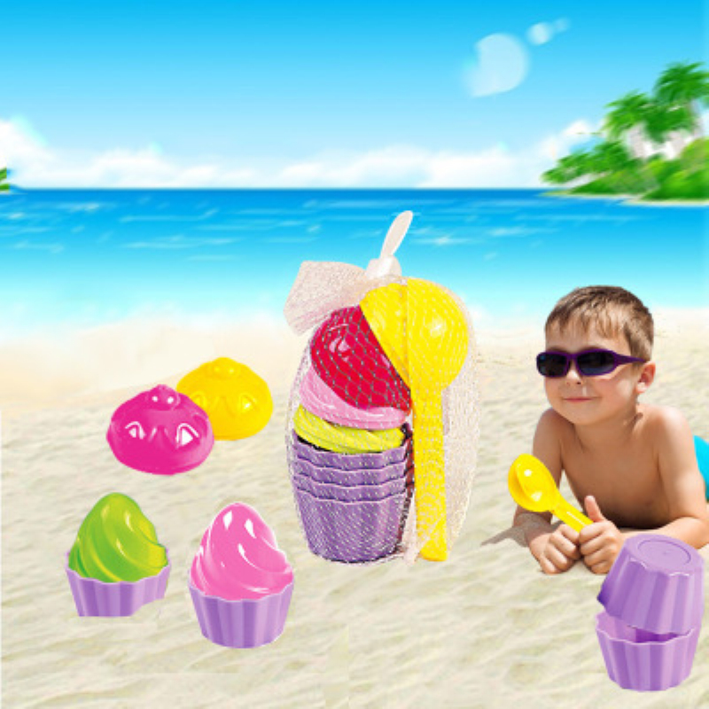 9PCS Kids Baby Beach Sand Toys Small Cake Mould Spoon Ice Cream Pudding Beach Play Sand And Snow Play
