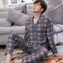 Домашняя одежда молодых мужчин Мужские пижамные комплекты Домашний