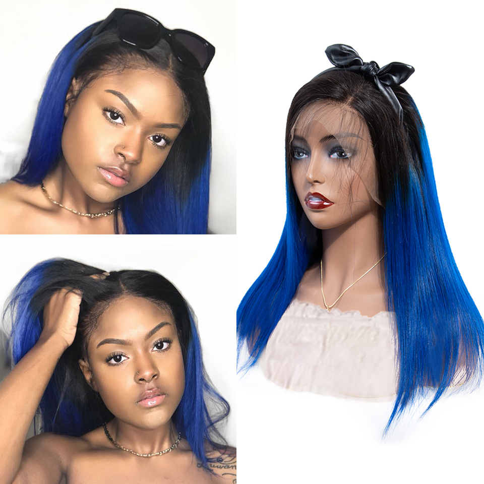 SEXAY Blue Ombre Human Hair Wig Malaysian Straight Remy Hair Lace Wig Dark Blue 28inch 13x4 Lace Front Human Hair Wigs For Women