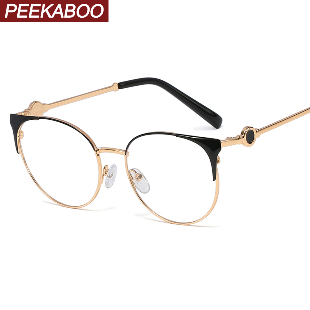 Peekaboo Round Metal Frame Glasses For Women Black Gold Cat Eye Eyeglasses Optical Clear Lens Fashion Gift Itmes Ladies