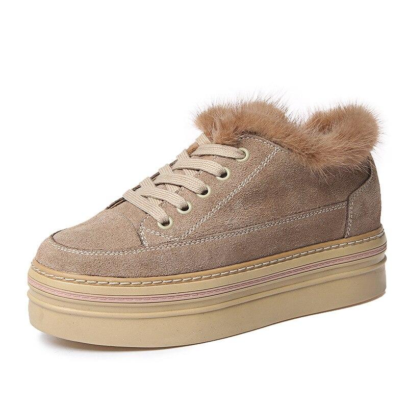 Style d'hiver de luxe en cuir plate-forme chaussures pour femmes décontracté joker marron plus coton chaud en cuir givré lapin cheveux chaussures plates