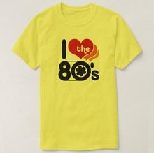2019 impresso t camisa de algodão manga curta eu amo o 80 camiseta feminino tshirt