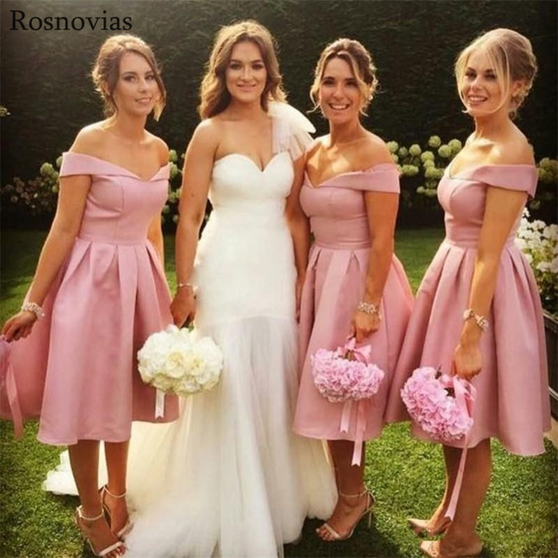 Blush Pink Short Bridesmaid Dresses 2020 Off Shoulder Knee Length Simple Stain Wedding Guest Dresses Maid Of Honor Gowns Cheap