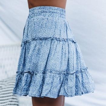 Jocoo Jolee Sexy High Waist Ruffles Skirt for Women Floral Print Beach A Line Skirt Cotton Beach Short Pleated Skirt Plus Size 4