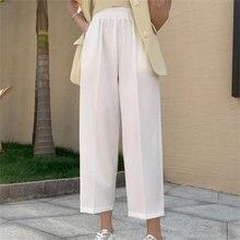 Hzirip 2021 verão de cintura alta calças finas femme nova chegada moda sólida solto plus size ol senhoras quentes casuais largas calças perna