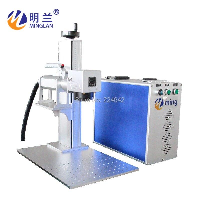 20W fiber laser marking machine on metal/ Minglan with CE FDA CO/ 20W fiber laser engraving machine with rotary/ By Air Sea DHL - 6