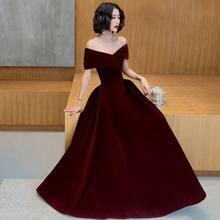 Plus rozmiar sukienek głęboki dekolt bordowy czerwony czarny elegancki A-line aksamitne długie suknie na imprezę 2020 sukienki świąteczne z krótkim rękawem