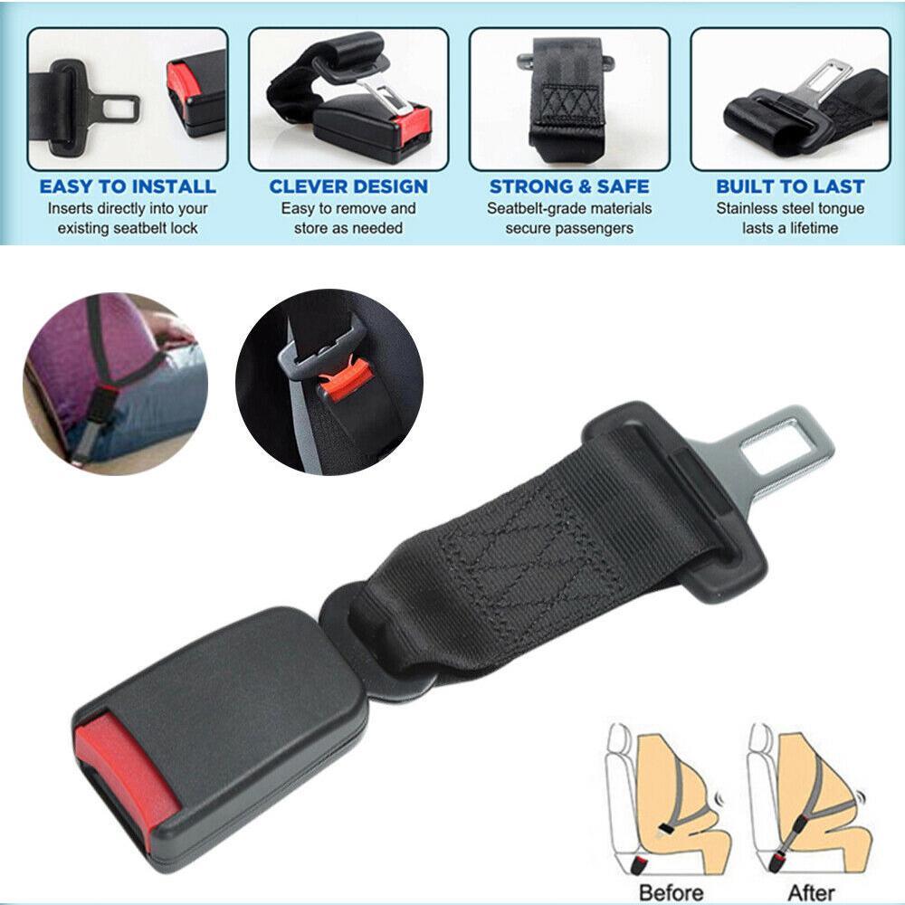 2 Car Seat Belt Extender Extension Safety Buckle Clip Universal Adjustable Strap